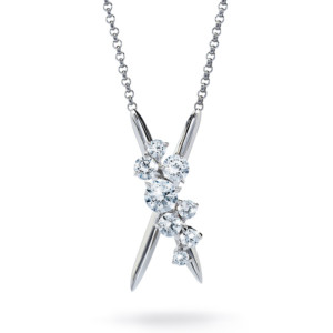 DIAMA 18k White Gold Swarovski Created Diamond Encounter Necklace