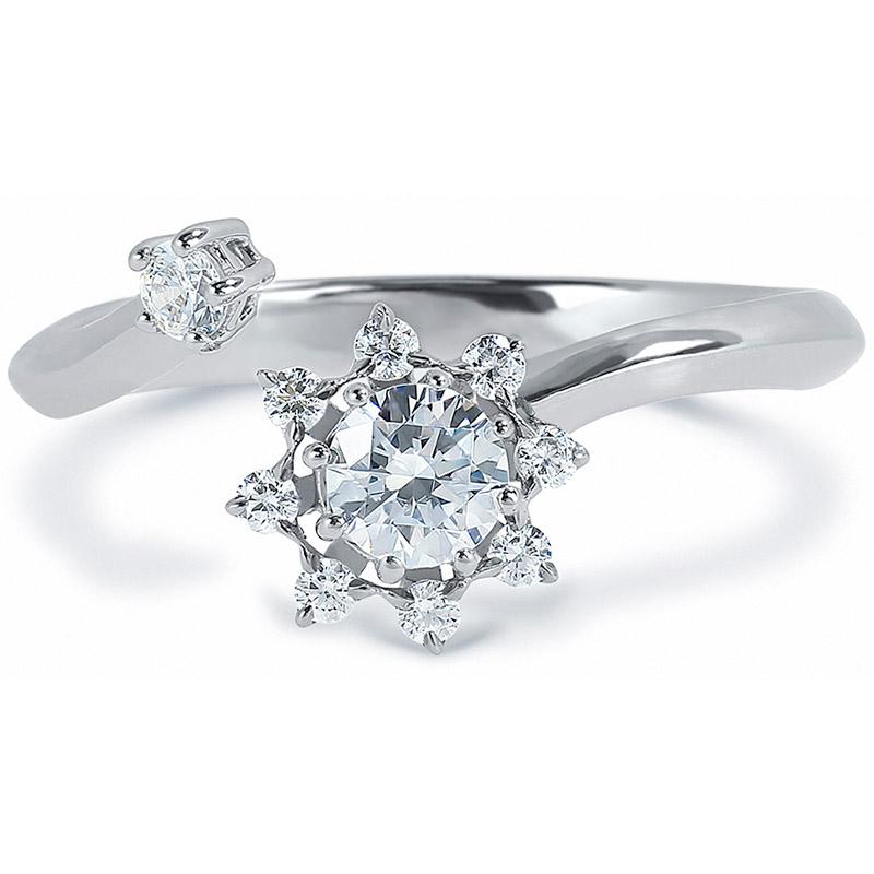 12a8d5920721 DIAMA 18k White Gold Swarovski Created Diamond Bloom Ring 044J ...