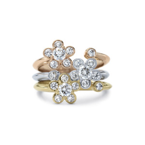 DIAMA 18k Gold Diamond Stackable Rings