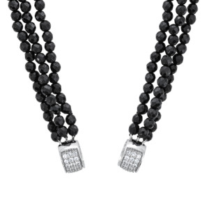 Petra Azar Circle of Love Onyx Bead Chain with White Sapphire Pave Accents