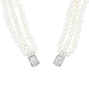 Petra Azar Circle of Love White Pearl Chain with White Sapphire Pave Accents