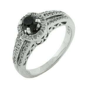 Royal Jewelers Diamond & Black Diamond Engagement Ring (HWC5523BJ)