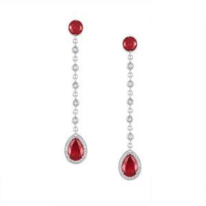 Atelier Swarovski Lola Long Drop Earrings, Swarovski Created Rubies